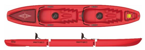 FALCON DUO Kayak sit-on-top modulable - Rouge